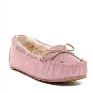 Minnetonka Pink Suede Moccasins Faux Fur Winter 9